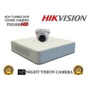 Hikvision DS-7104HGHI-F1 Mini 4CH DVR 1Pcs + DS-2CE56COT-IRP Dome Camera 1Pcs Combo Kit.