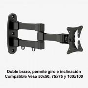 """Soporte de pared doble brazo giro e inclinación de 10 a 24"""" SSP-345N"""