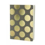 LONDON STATIONERY Šedý zápisník se zlatými třpytivými puntíky A5