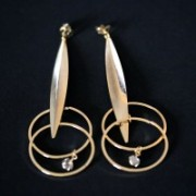 Earring Gold Plated Jewelry Semi Long with Rings and Zirconia Stone