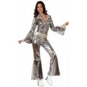 Zilveren disco jumpsuit voor dames M/l