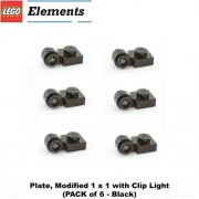 """Lego Parts: Plate, Modified 1 x 1 with Clip Light (PACK of 6 - Black) by """"Parts - Plates, Modified"""""""