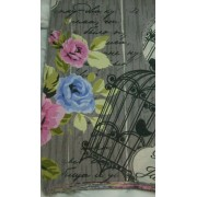 Virágos madaras vászon maradék, szürke 2db egyben/014/Cikksz:1231301