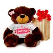 4 feet big brown teddy bear wearing Worlds Best Mom T-shirt