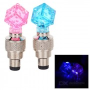 Crystal Style Bike Valve Core Nozzle Lamps Warning Lights Blue Light - Pink + Blue