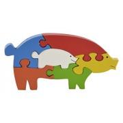 Skillofun Wooden Take Apart Puzzle Pig, Multi Color