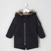 River Island Mini boys navy luxe faux fur hood parka