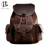 New Full Crazy Horse Genuine Cowhide Skin Leather men Women's Travel Backpack School Student Day BackPack Notebook Laptop Bag