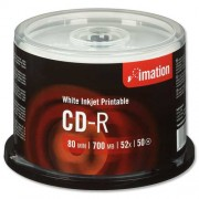 Imation CD-R 700Mb/80minutes White Printable Spindle Pack of 50 i17304