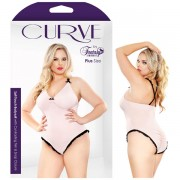 CURVE SOFT TOUCH BODYSUIT WITH CONTRASTING TRIM & SNAP CLOSURE 1X/2X