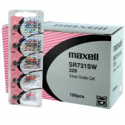 100ct Maxell SR731SW V329 329 Silver Oxide Watch Battery .55V