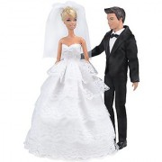 E-TING Wedding Pack Beautiful Gown Bride Dress Clothes with Veil and Groom Formal Outfit Business Suit for Barbie Ken Dolls Gift
