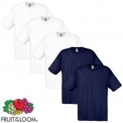 Fruit of the Loom 5 Magliette Originali 100% Cotone Bianche e Blu