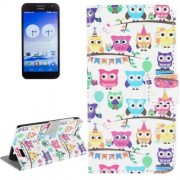 Owl Party Pattern Leather Case with Holder & Card Slots & Wallet for Huawei Ascend G7