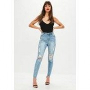 Missguided High Waisted Marbled Skinny Jeans Light Blue, Blue