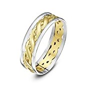 Theia Unisex Highly Polished Court Shape Celtic 6 mm 9 ct White and Yellow Gold Wedding Ring - Size Y