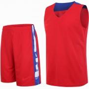 Детски баскетболен екип потник с шорти - червен със синьо