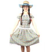 Fantasia Vestido Caipira Festa Junina Adulto