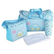 Starsource Mothers Help Waterproof Baby Infant Toddler 4-Piece Duffle Diaper Bag Set Baby Stroller Hanging Organizer Kit Tote Wipes Holder Bag