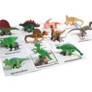 Montessori Dinosaur Figure Animal Match Miniature Dino Figurines With Matching Cards 2 Part Cards. Montessori Learning Toy, Language Materials