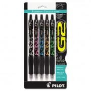 G2 Fashion Premium Retractable Gel Ink Pen, Black Ink/asst. Barrels, .7mm, 5/set