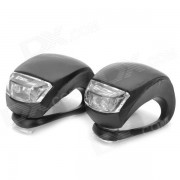 2-LED 3-Mode White + Red Light Fog Bicycle Lights - Black (Pair/2*CR2032)