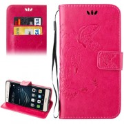 Huawei P9 Lite Crazy Horse Texture Printing Horizontal Flip Leather Case with Holder & Card Slots & Wallet & Lanyard(Magenta)