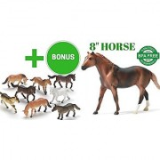 Vinyl Plastic Horses Toy - Colorful Shiny Magnificent 10 Pieces Bundle with One Jumbo Large Sized 7 to 10 Horse