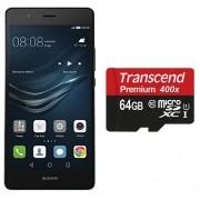 Huawei - P9 Lite - Smartphone Débloqué - 4G (Ecran : 5,2 pouces - 16 Go - Android 6.0 Marshmallow) - Noir + Transcend - Carte Mémoire - MicroSD - 64 Go