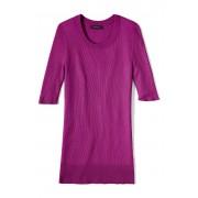ランズエンド LANDS' END レディース・シルク・リブニット・クルーネック・セーター/五分袖(ビビッドマゼンタ)