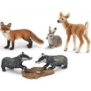 Schleich Set Los animales del bosque - Conejo zorro tejón venado de cola blanca - 14631 14648 14651 14711