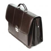 Trzykomorowa teczka ze skóry naturalnej, ciemny brąz, na laptopa + mini biuro