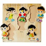 Skillofun Wooden Junior Identification Tray Sports II with Knobs, Multi Color