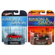 Maven Gifts: Simon & Simon Hot Wheels Retro Series- 57 Chevy Bel Air Convertible With 85 Chevrolet Camaro Iroc-Z Die Cas