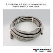 Tub flexibil inox (AISI 316 L) ondulat pentru sisteme solare si termice DN 25 x 0,22 mm