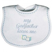 Raindrops My Godfather Loves Me Embroidered Bib Blue