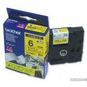 BROTHER TZ Tape, 6mm Black on Yellow, Laminated, 6mm lenght, for P-Touch (TZE611)
