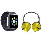 MIRZA GT08 Smart Watch & Extra Extra Bass Headphones for ASUS ZENFONE 2 LASER