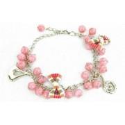 Kralen armband roze met strikjes en bedels