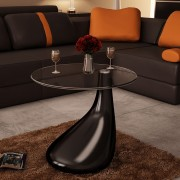 Druppelvormige salontafel zwart