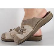 Papuci de casa gri cu bej din lana dama/dame/femei (cod ESTEL)