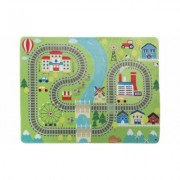 Baby Play Mat for Kids, Microfiber Flannel Fleece & Foam Mat with Non Slip Back Train Scene