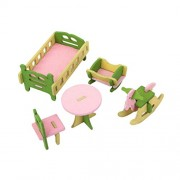 Magideal Dollhouse Furniture Wooden Toy Kids Nursery Room Set
