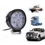 Faro 9 led Tondo quadrato per auto camion e barche off road impermeabile 27 watt luce bianca fredda