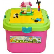 Fun For Life Lego-Compatible Box Storage Container With Building Plate -Yellow- And Removable Lid