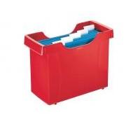 Függőmappa tároló, műanyag, 5 db függőmappával, LEITZ Plus, piros