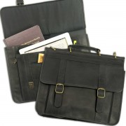 16-inch Deluxe Dual Compartment Laptop Briefcase (100% Leather)