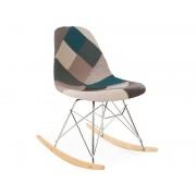 Eames rocking chair RSR - Patchwork bleu