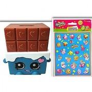 Adorable Shopkins 2 Item Bundle: Shopkins Chocolate Bar Cheeky Molded Coin Piggy Bank and 100 Sticker Set
