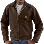 Carhartt Detroit Sandstone Jacket - Blanket Lined Factory Seconds DARK BROWN (40)